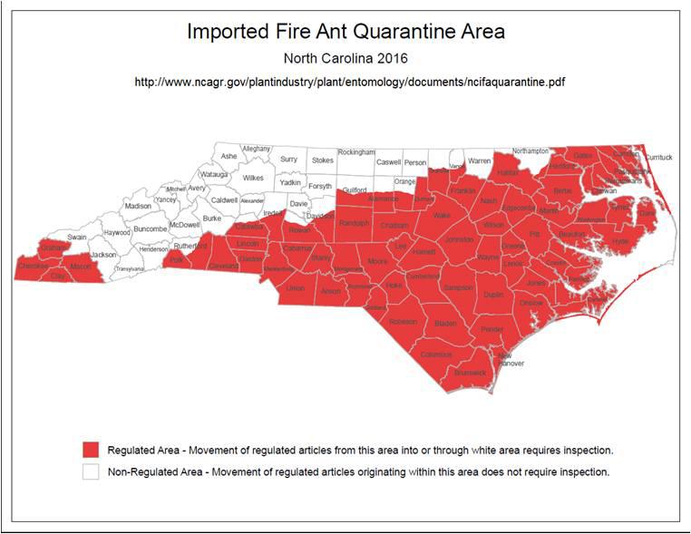 2016 fire ant quarantine map