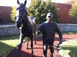 Horse racing statue