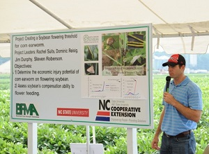Dominic Reisig making a presentation at the Vernon James Research & Extension Center
