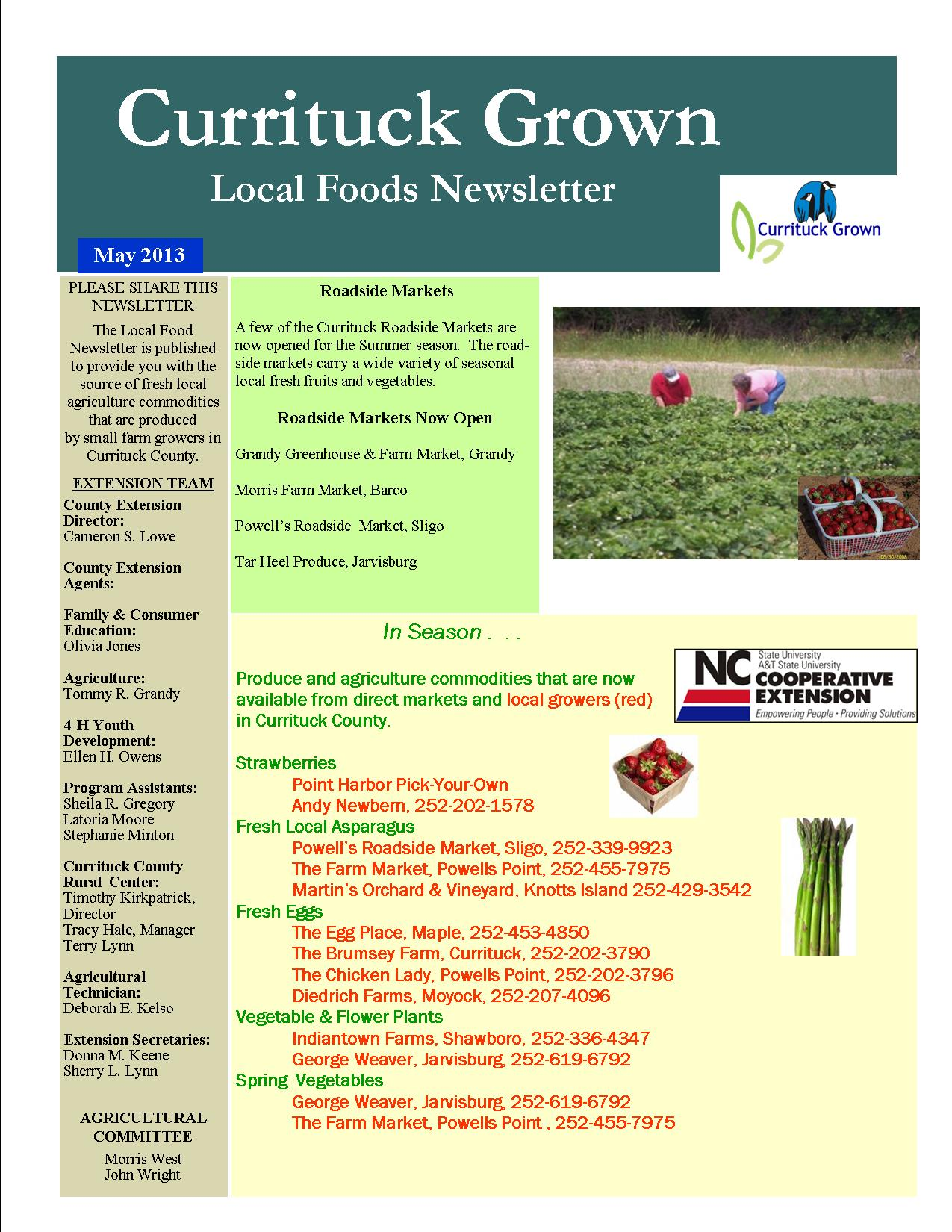 Currituck Grown Local Foods  May 2013