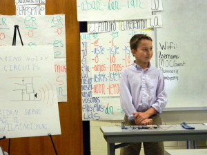 "Aidan Shepard, son of Brad and Melinda Shepard, gives his presentation on ""wearable"" electronics. Aidan received a Gold medal."