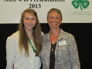 Anna Pierce, state level gold medal winner for her 4-H presentation in the Science & Technology category. Pictured: Anna Pierce (age 17) and Heather Gordon (Jackson County 4-H Agent)