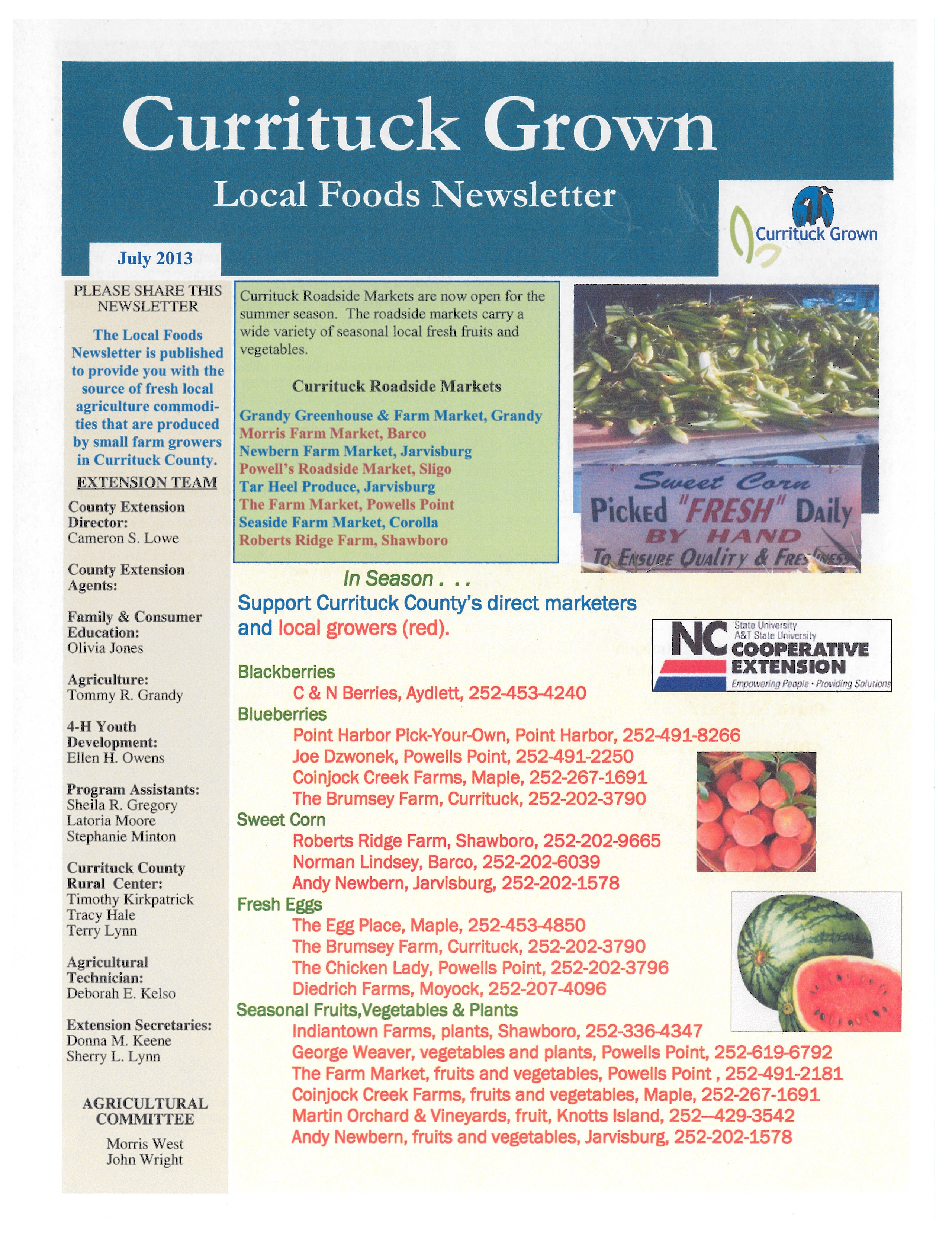 Currituck Grown Local Foods  July  2013