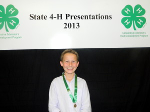 4-H member Aidan Shepard, age 12, won a Gold medal with his presentation, Wearable Electronics.