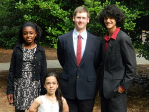 New Hanover County 4-H'ers who attended 4-H Congress are pictured left to right Maia Cheatham, Louisa Michael, Robert Perry, and Kevin Artz.
