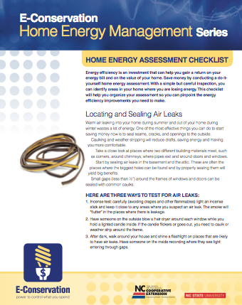 Home Energy Assessment Checklist factsheet