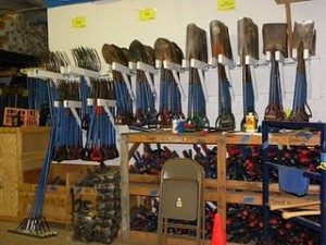 Collection of shovels and other tools
