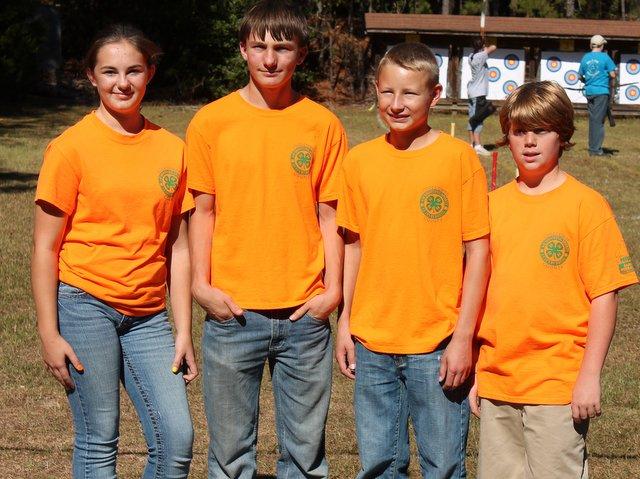 Edgecombe Jr. Archery team wins 1st Place. L-R Sydney Daughtridge, Grant                                         Dew, Austin Harris and Justin Chatt.