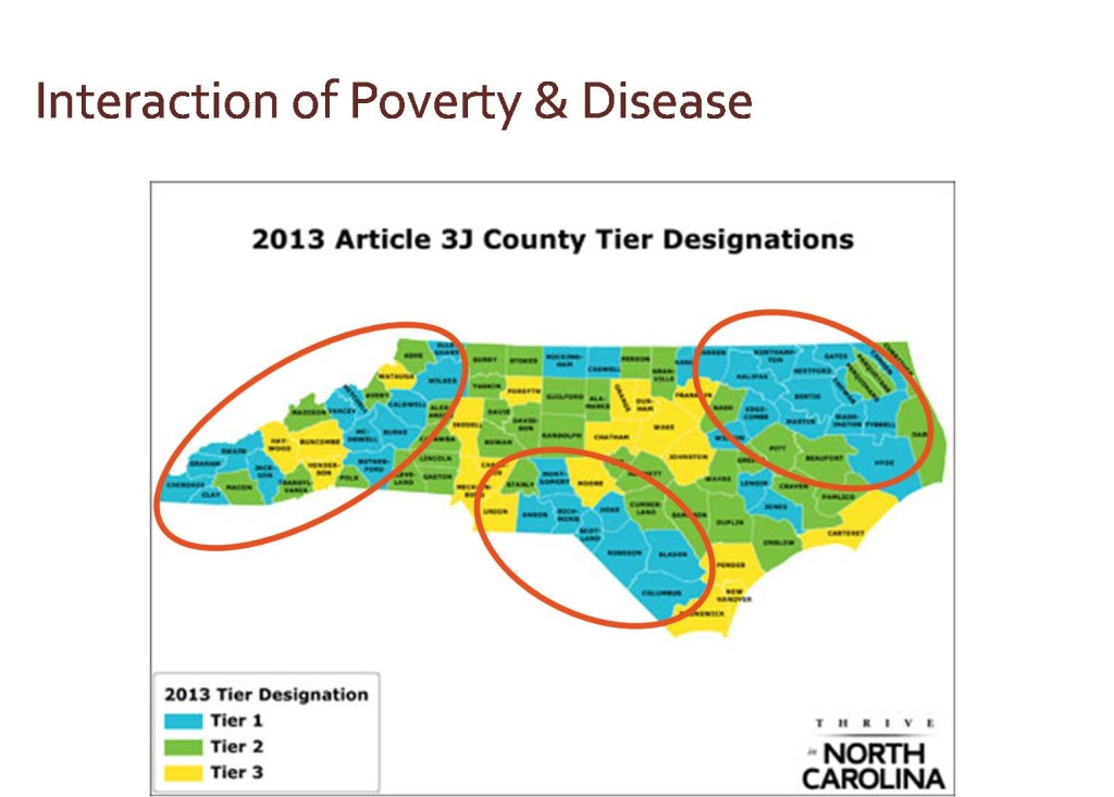 Map of North Carolina showing interaction of poverty & disease