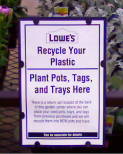 Plastic pots and packs can be taken to any Lowe's store to be recycled.