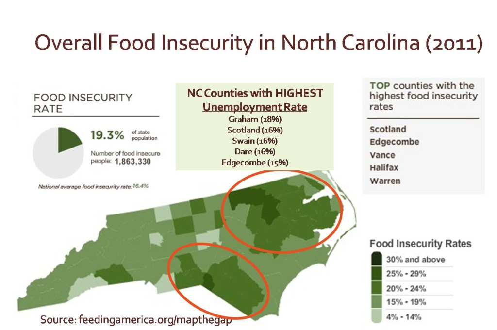 Graphic image of North Caroline representing Food Insecurity relative to Unemployment