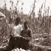 Early 4-H Corn Club members Absenia Johnson and Aron Johnson, of the Dawson 4-H Club in Scotland Neck examine their corn. The two brothers produced 80 bushels of corn an an acre of ground, R.E. Jones took this photo Nov. 8, 1939.