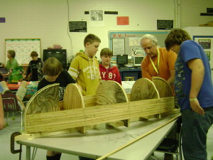 Pictures from the 4-H Ashe County Middle School LINK Afterschool Program – students are actually constructing a canoe.