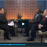 "From left: Mitchell Lewis, host of ""North Carolina Now,"" discusses Extension's centennial with Dr. Fletcher Barber, associate administrator for Extension at N.C. A&T State University, and Dr. Joe Zublena, Extension director at N.C. State University.From left: Mitchell Lewis, host of ""North Carolina Now,"" discusses Extension's centennial with Dr. Fletcher Barber, associate administrator for Extension at N.C. A&T State University, and Dr. Joe Zublena, Extension director at N.C. State University."