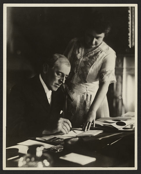 Woodrow Wilson signed the Smith-Lever Act with into law on May 8, 1914. This Library of Congress photo is actually not that signing. It is the first posed photograph of President Wilson with wife, Edith, after he'd had a stroke.