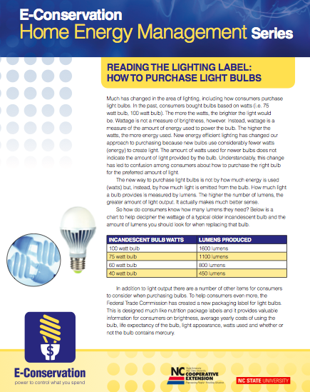 Reading the Lighting Label factsheet