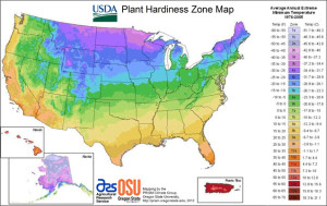The USDA plant hardiness zone map.