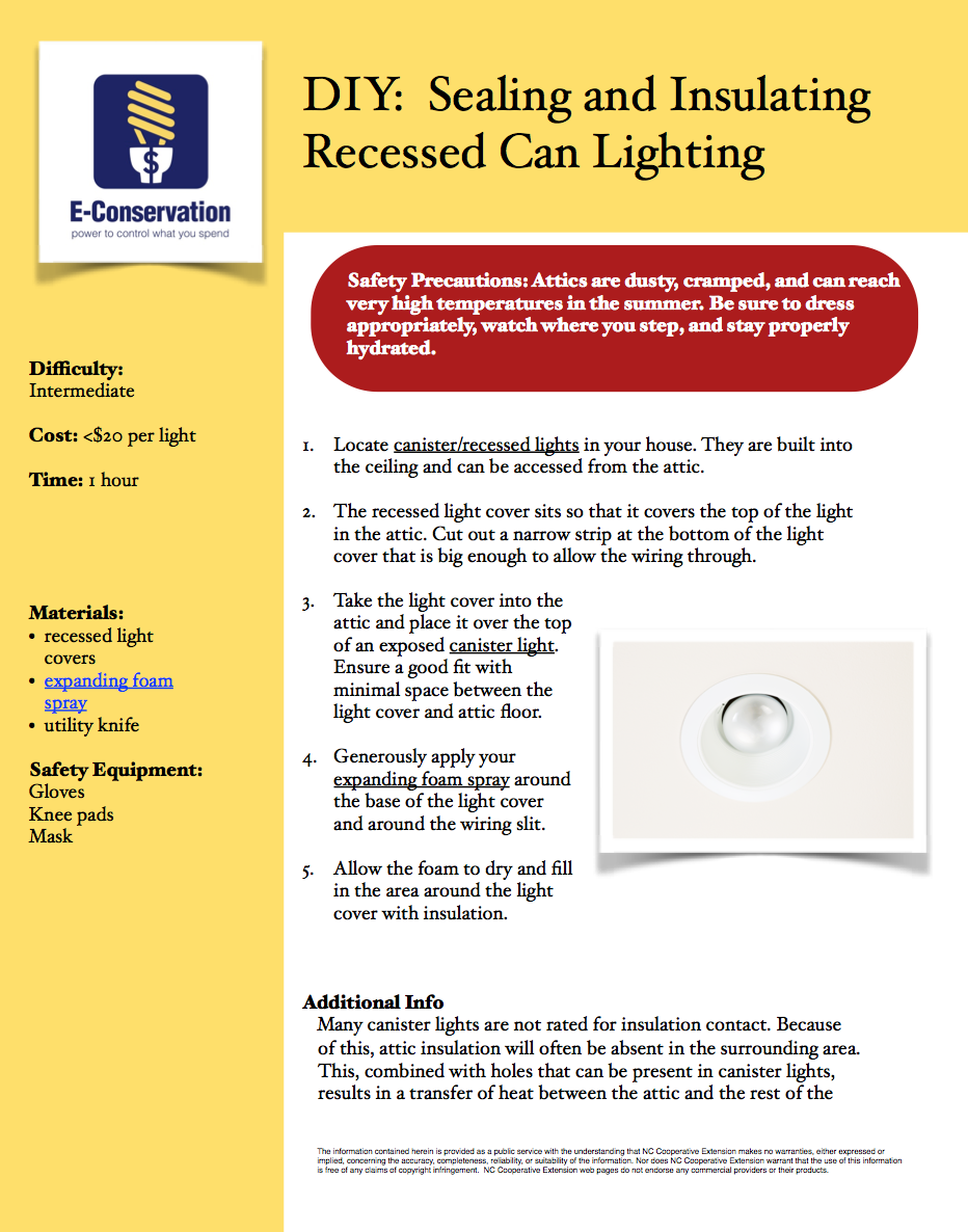 Air Sealing and Insulation: Can Lights | NC State Extension