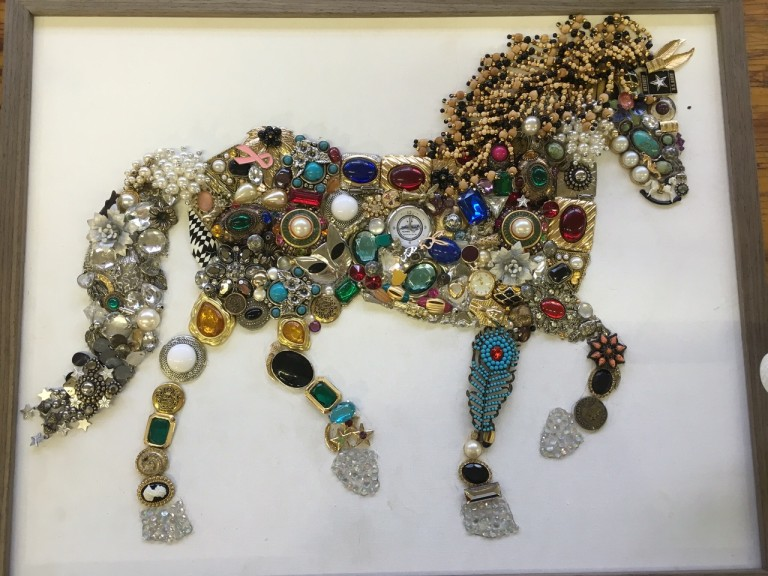 Image of a horse made from jewelry