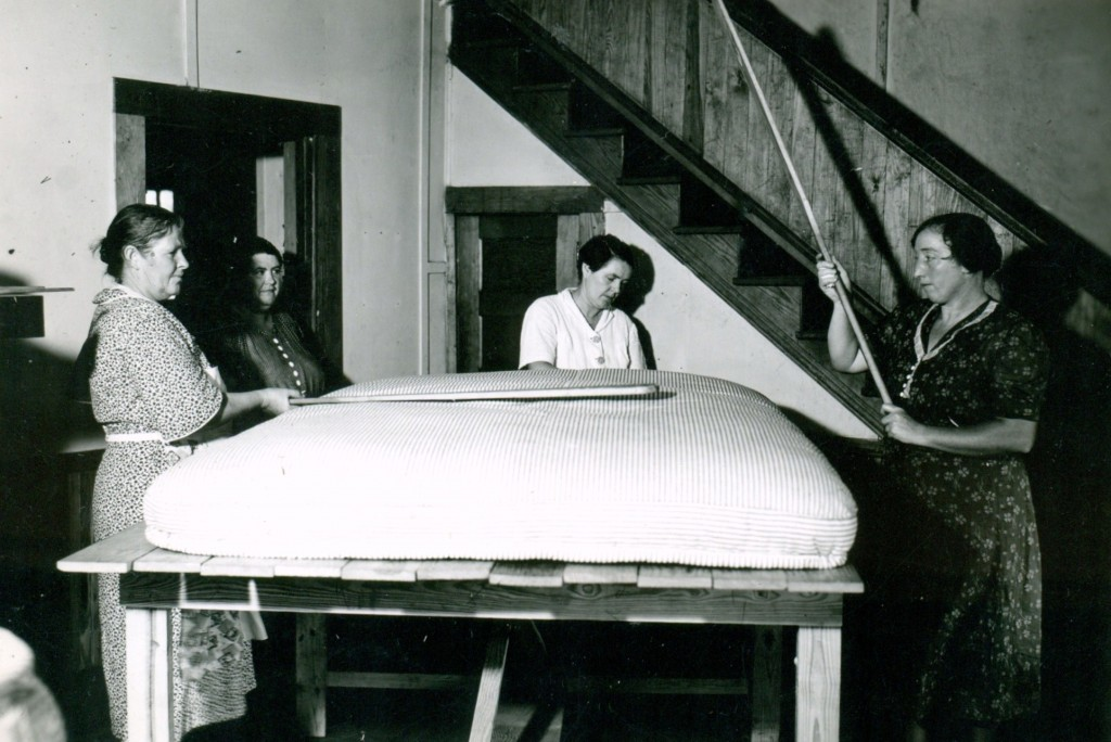 1939-1940s. Families were able to make  mattresses for their own use.