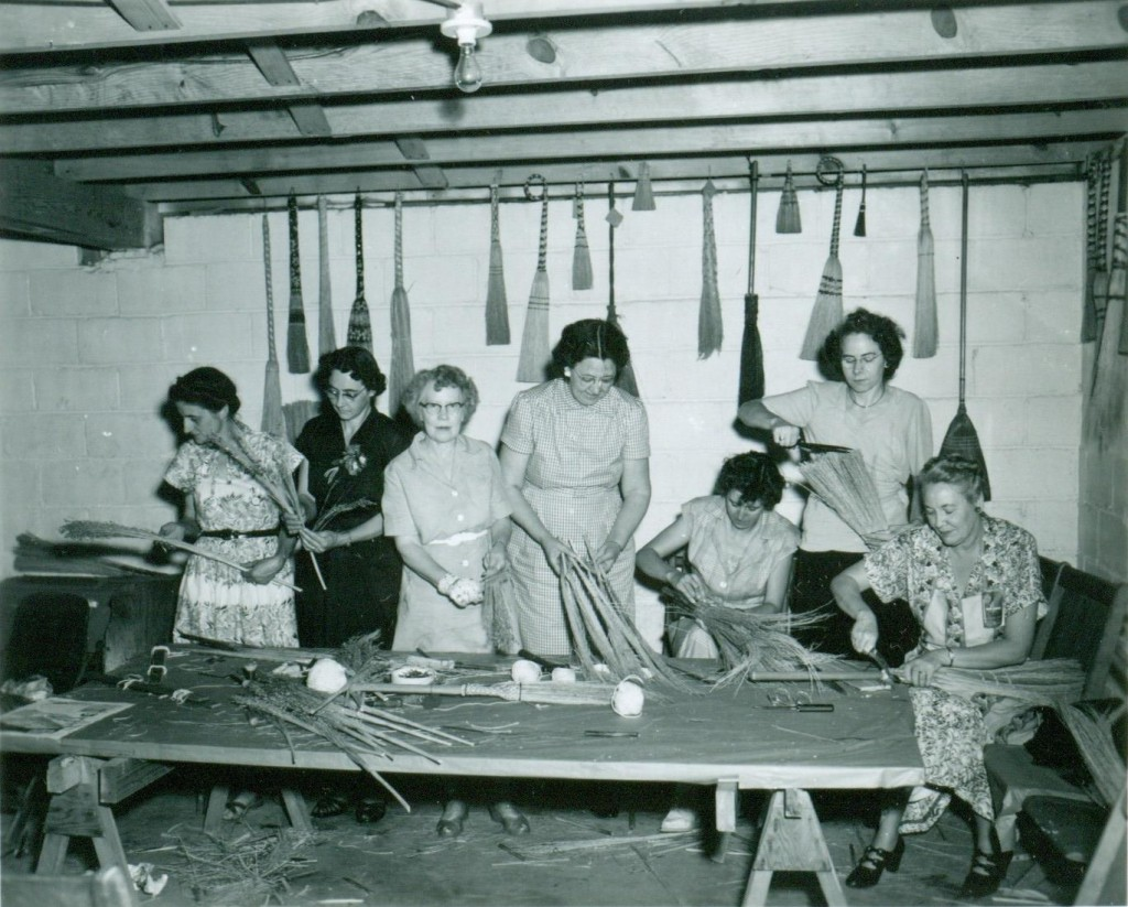 1950's Swain County Extension Homemakers making brooms