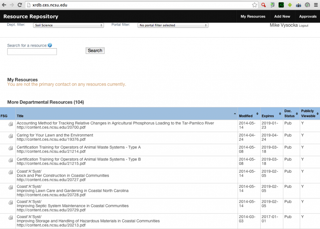 Screen Shot of Extension Resource Database 2014