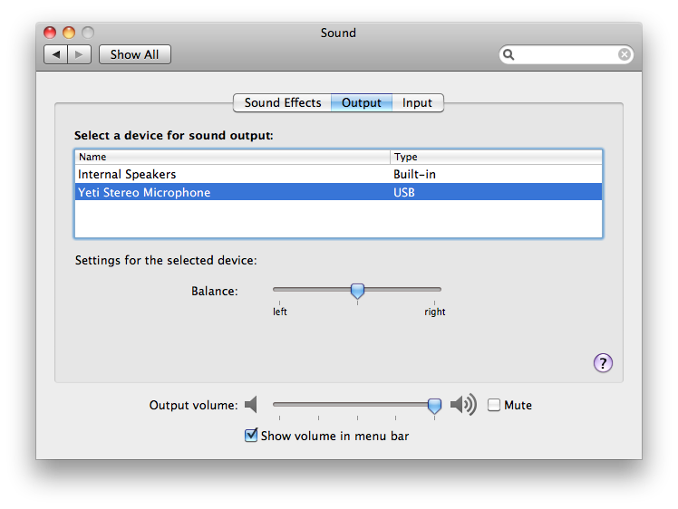 Sound output setting