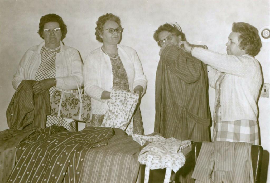 June 1968 Brush Creek Club Housecoats for Hospital. (L-R) Flora Lavis, Ruth Burnette, Margeret Allison, Pansi Deal (Home Demonstration Agent)