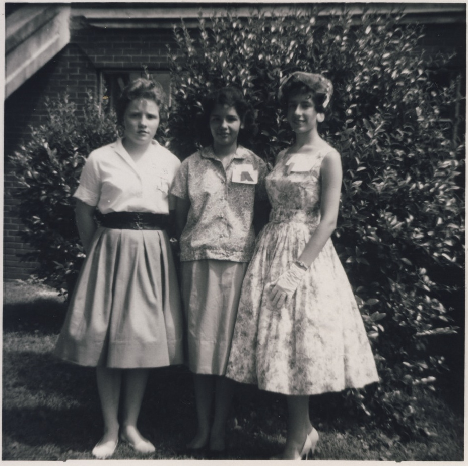 June 1960 - Jr. Dress Revue (L-R) Susan Lyday 3rd place, Betty Jean Chickililie 2nd Place, Jessie Greyer 1st Place.