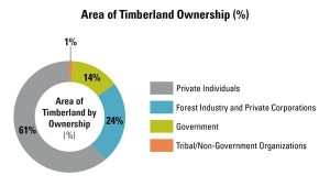 Area of timberland ownership