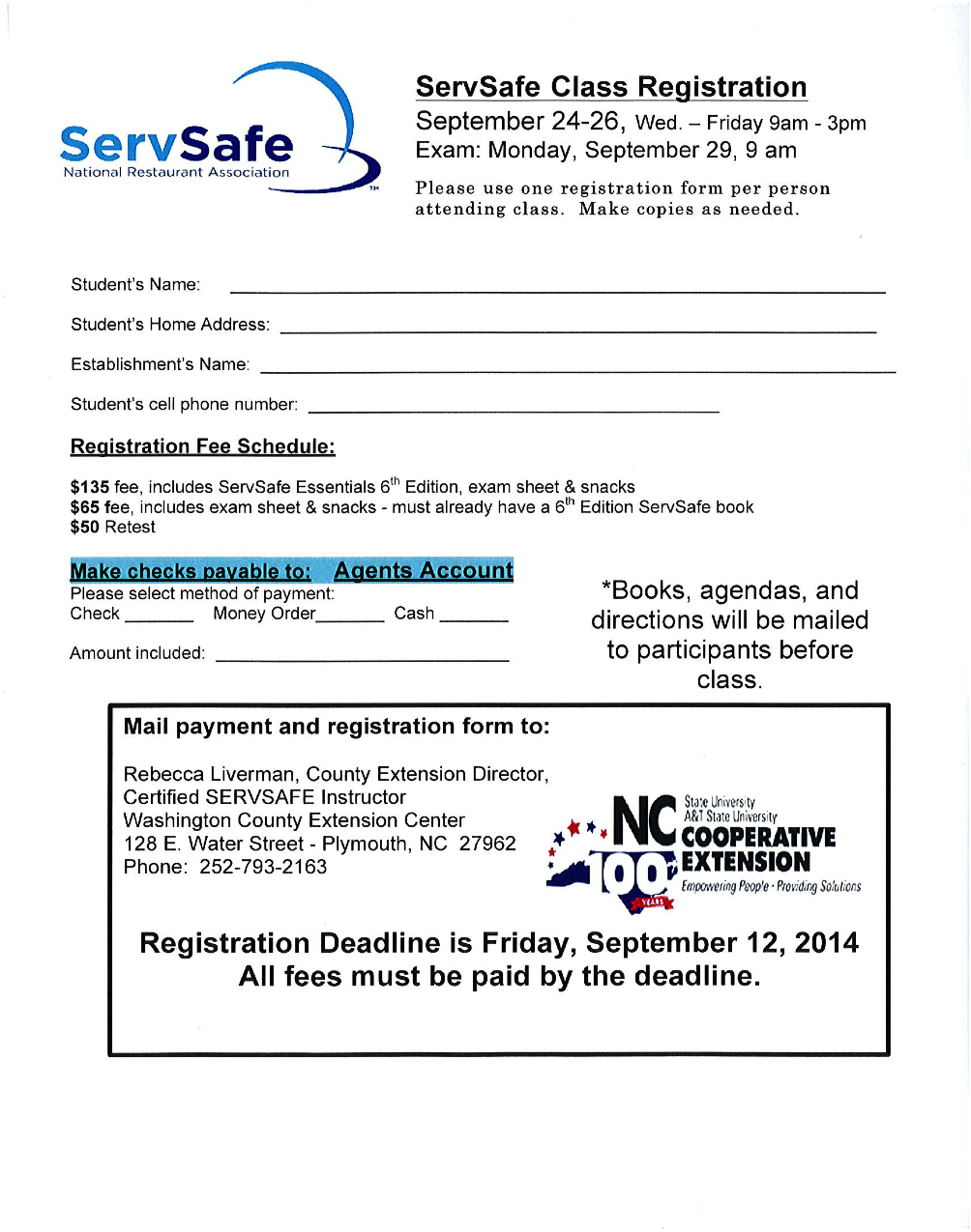 Servsafe Class North Carolina Cooperative Extension