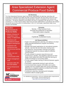 Area Specialized Agent Commercial Produce Food Safety Job Description