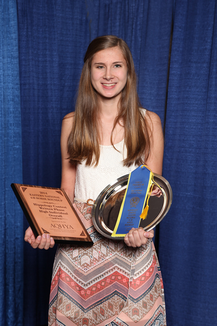 Wake County 4-H'er Anna Ahlers captured 1st place individual in Written Exam, Stations and Overall at the 2014 Eastern National 4-H Horse Round Up.