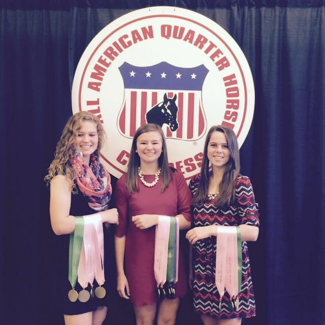 2014 Quarter Horse Congress Judging Contest 5th place overall team. L to R: Maddie Edwards, Taylor Knittel, Megan Downs