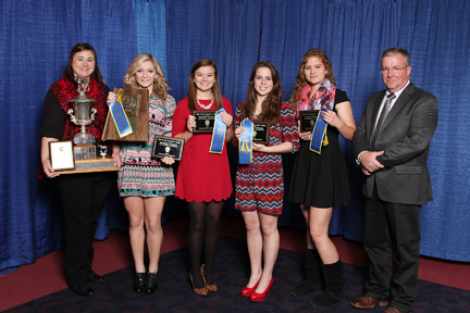 2014 Eastern National 4-H Horse Round Up Horse Judging Team Champions. L to R: Lori Stroud, Mina Greenlee, Taylor Knittel, Megan Downs, Maddie Edwards, Dr. Mike Yoder