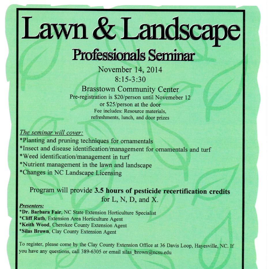 Lawn And Landscape Professionals Seminar North Carolina