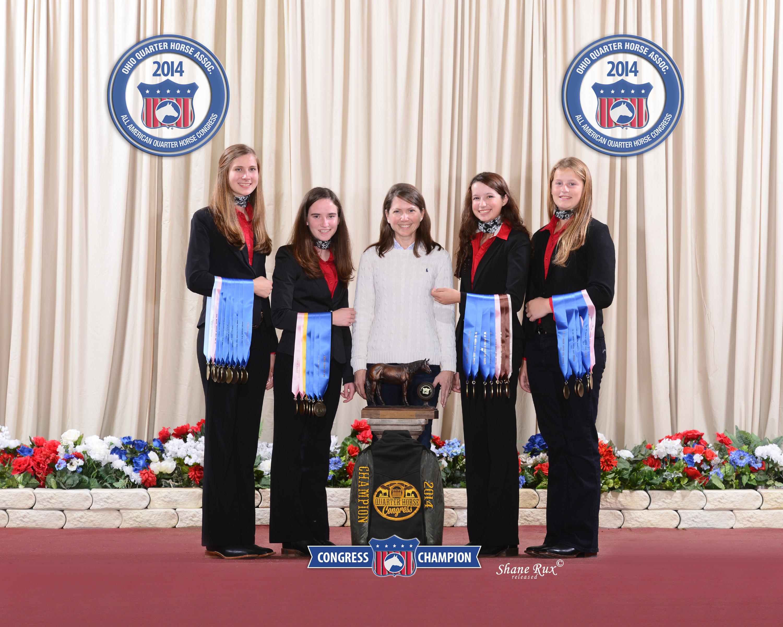 Quarter Horse Congress Champion Hippology Team. L to R: Anna Ahlers, Laura Dickerson, Beth Morgan, Allie Pickard, Micah Furr