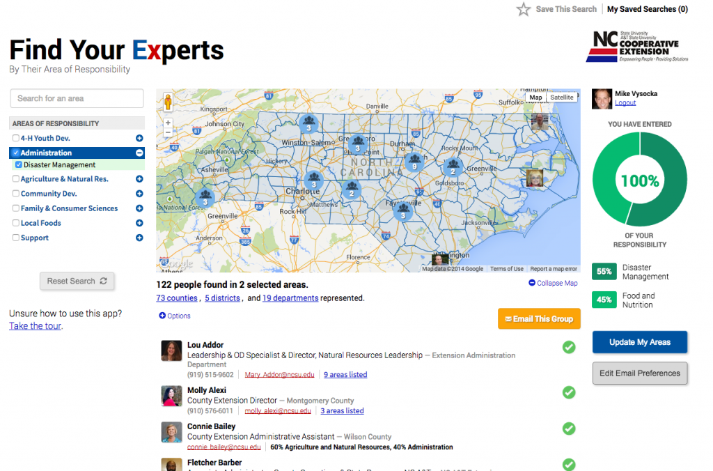 Screenshot of the new Find Your Experts tool