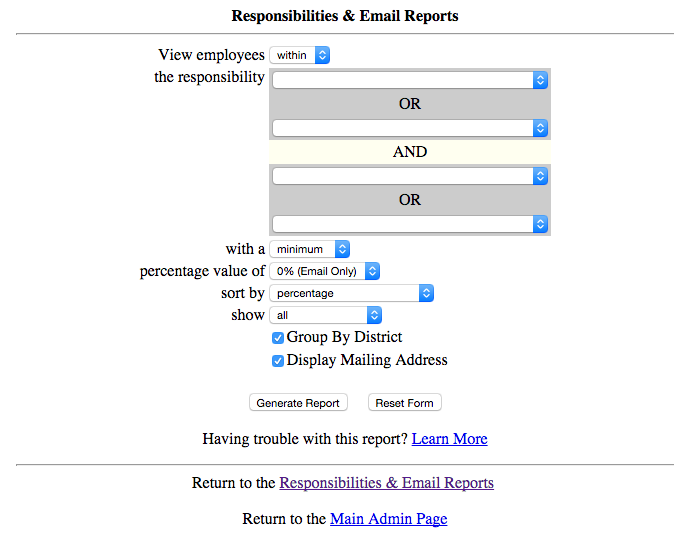 Screenshot of old Responsibilities and Email interface.