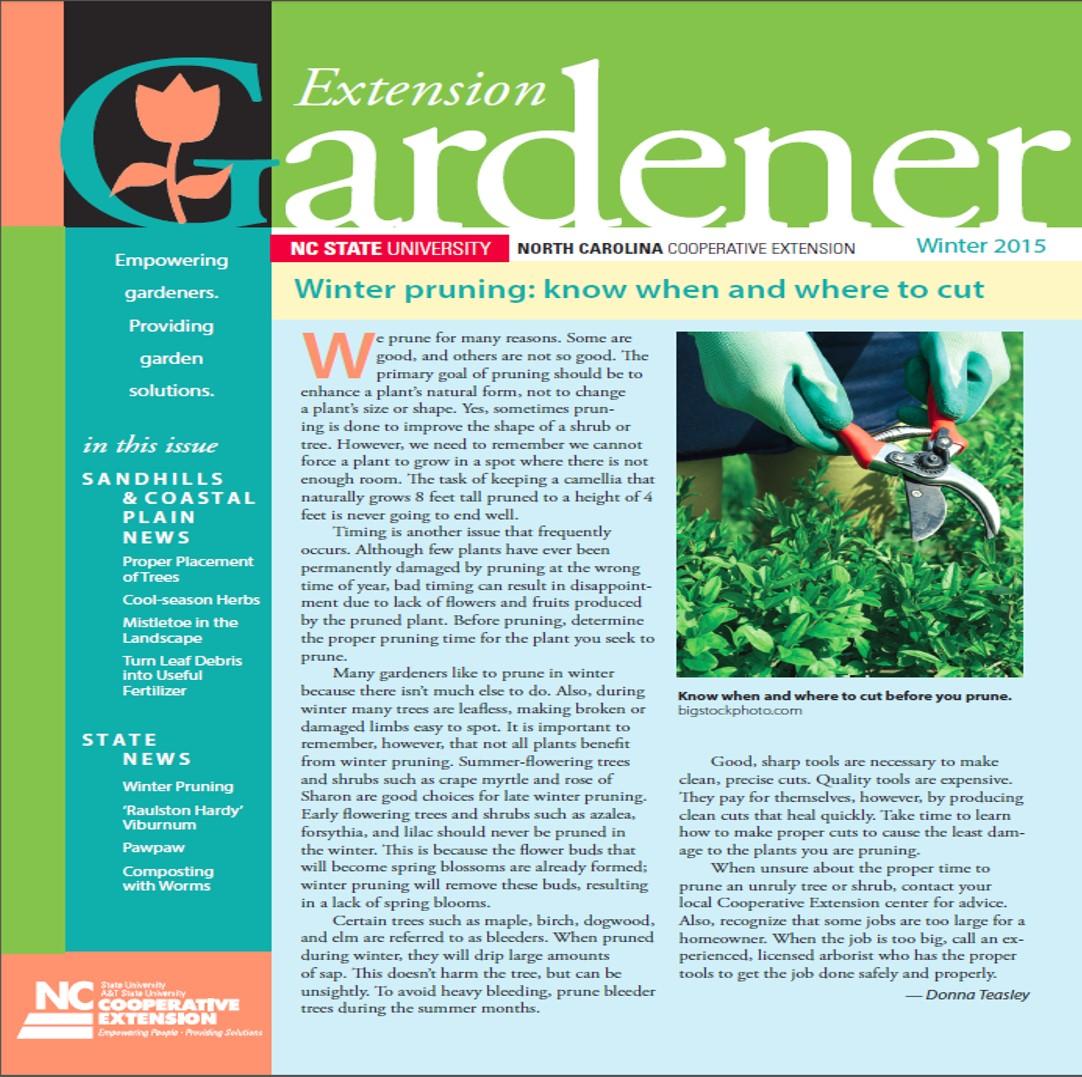 Winter Issue Extension Gardener Newsletter North Carolina Cooperative Extension