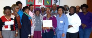 Duplin ECA members show their state recognition award announced at the annual meeting of the NC ECA group. Pictured above (l to r) Mae Bell Satchell, Doreatha Roberts, Ruby Brinson, Annie Mae Williams, Catherine Lovick, Annie Lou Williams, Annie Ruth Picket, Club President Theresa Bowles, Nicie Williams, Olivia Williams, Eloise Coston, Willie Mae Williams, Delilah Gomes, and Anna Jones.