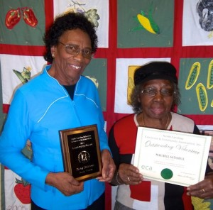 "Duplin Extension and Community Association Club members (l to r) Ruby Brinson and Mae Bell Satchell were recognized at the state conference of the ECA organization. Ms. Brinson, who has been a Duplin ECA club member more than 35 years, was recognized for ""Outstanding Leadership"" to the ECA organization for her service at the local and state levels. Mae Bell Stachell received an ""Outstanding Volunteer"" award."