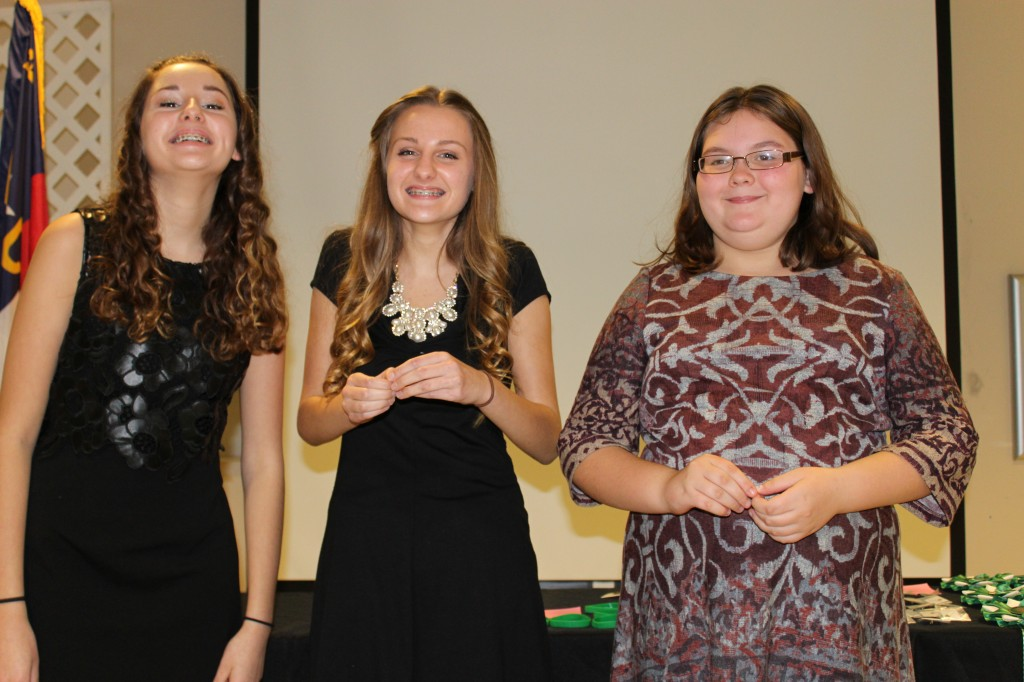 Reagan and Reilly Dumproff and Rose Green. 4-H 1st year pin recepients
