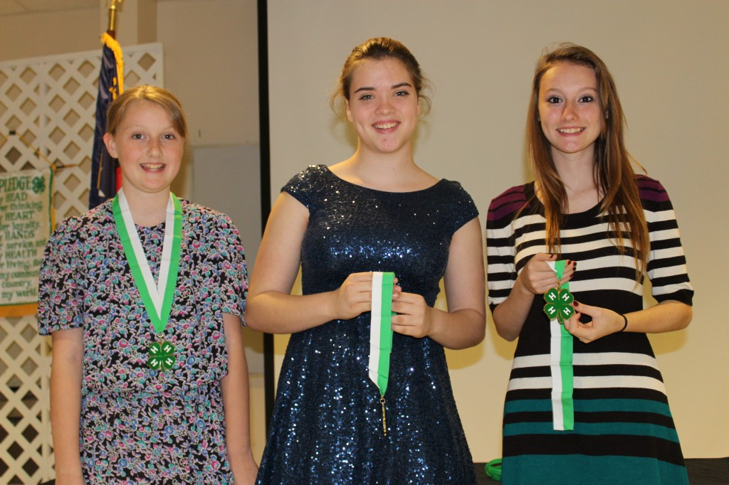 4-H Youth of the Year - Autumn Apple 9-10 year old age division, Lena Devlin 11-13 year old age division, Alexis Apple 14-18 year old age division