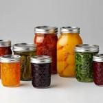 fruits and vegetables in mason jars