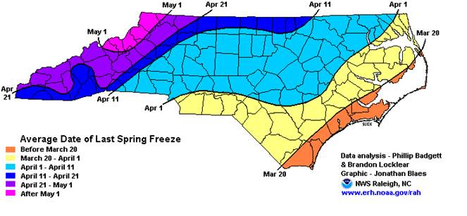 North Carolina spring frost map