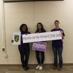 Kim W., Danielle P., & Amanda N. with Army Reserves CYSS celebrate MOMC & Purple UP! Day