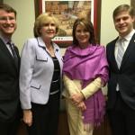 (L to R) Josh Grant, Research Asst. Mary Marchman, Legislative Asst. Senator Kathy Harrington Javier Pico, Intern