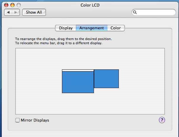 Display Arrangement setting