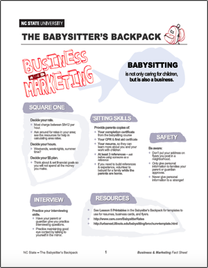 The Babysitter's Backpack: Business and Marketing